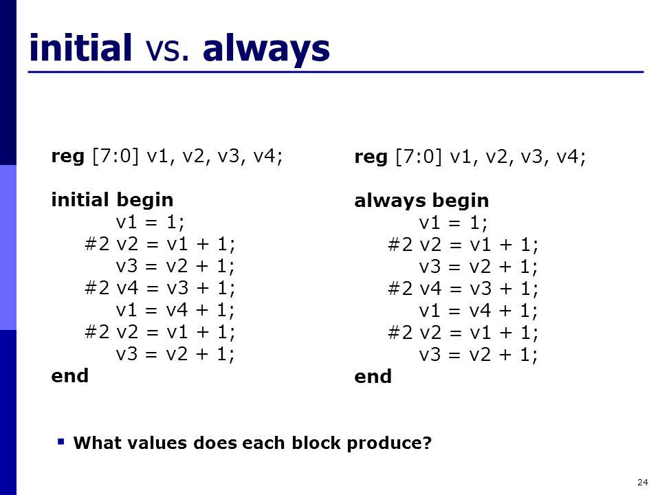 initial vs. always reg [7:0] v1, v2, v3, v4; reg [7:0] v1, v2, v3, v4;